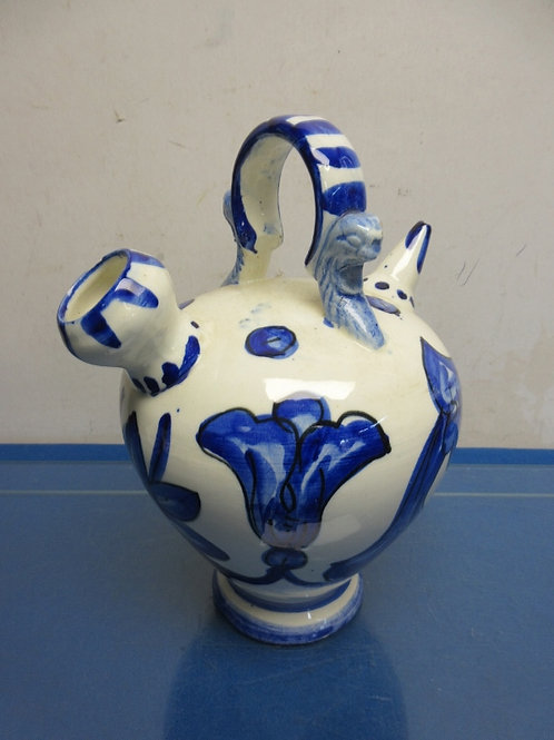 White and blue ceramic water pitcher from Spain