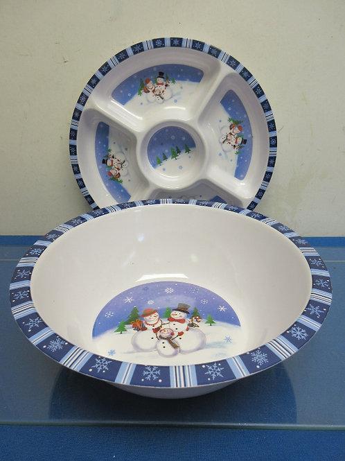 Pair of large plastic snowmen platter and bowl