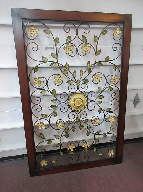 """Large welded metal floral wall hanging, 40x60"""", can be hung either way"""