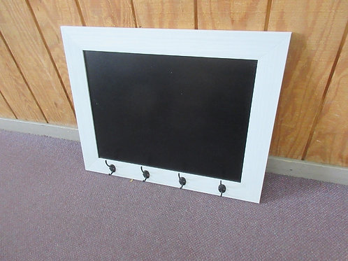 White washed framed black board with 4 hooks - 30x24