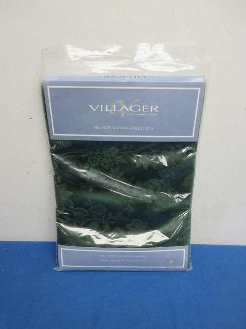 "Liz Claiborne villager green damask tablecloth 70"" round, new in pkg"