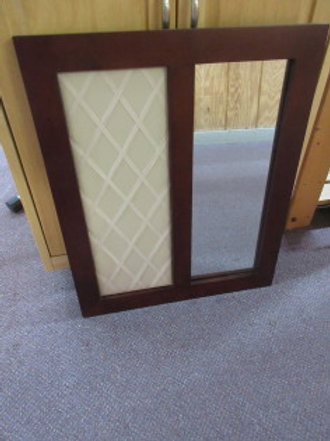 Stanley mirror/cloth message board with cherry wood frame, new 19x24