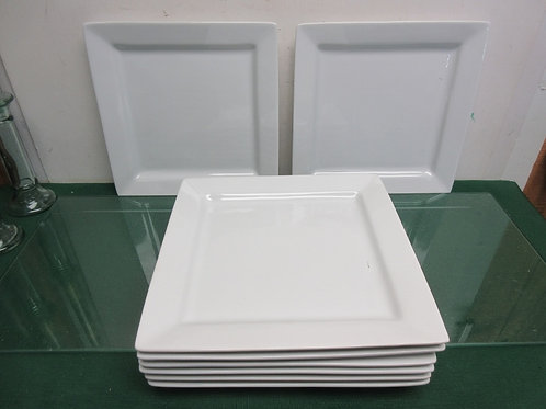 Set of 8 white porcelain square Canopy dinner plates