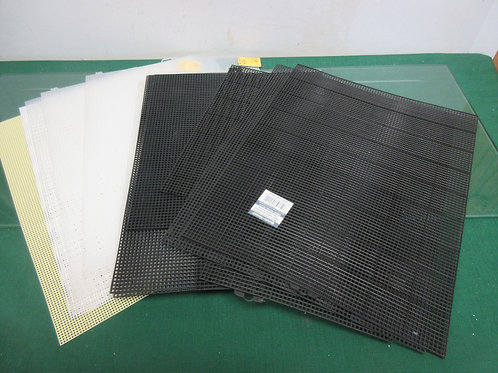 Set of 13 mesh plastic canvas (6)black, (5)clear,(1)white, (1)yellow