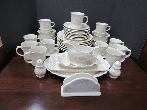 """Pfaltzgraff """"Tea Rose"""" 57pc service for 8 with many extras"""