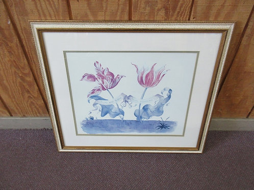 """French tulip print with crackled frame 24x28"""""""