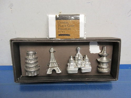 Global pewter set of 4 place card holders leaning tower, eiffell tower and 2 oth