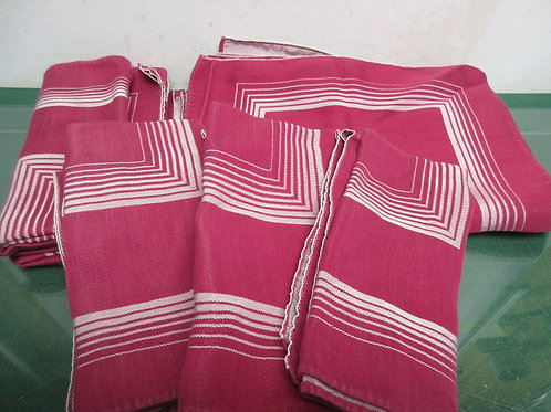 Burgundy and silver art deco table set, 8 napkins & 7 place mats