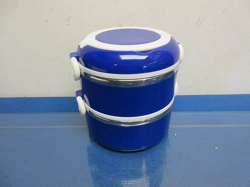 Weight Watchers stainless & blue plastic stackable snap close lunch boxes