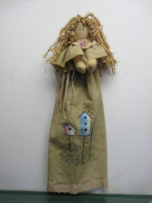 Angel hanging fabric wall hanging - tan dress w/birhouse design