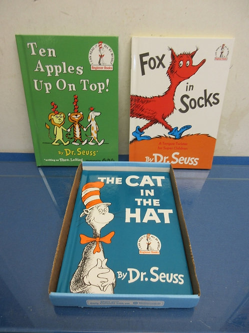 Set of 3 Dr. Suess hardback books, fox in socks, ten apples up on to,cat in hat