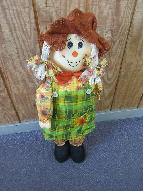"""Cloth standing scarecrow with plaid pants, 29"""" high"""