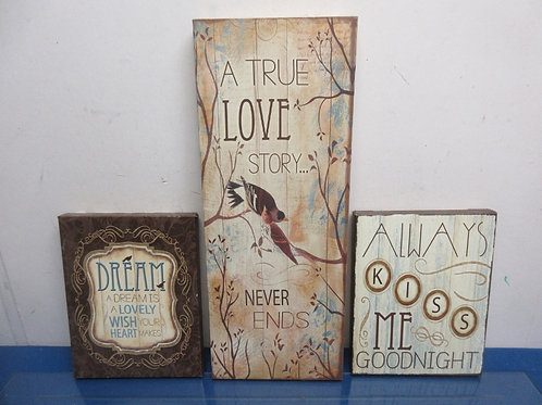 "Set of 3 stretched canvas wall hangings with sayings - ""always kiss me.."", ""true"