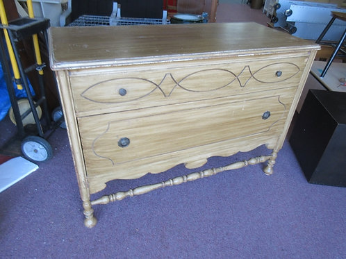 Vintage distressed brown painted 2 drawer dresser