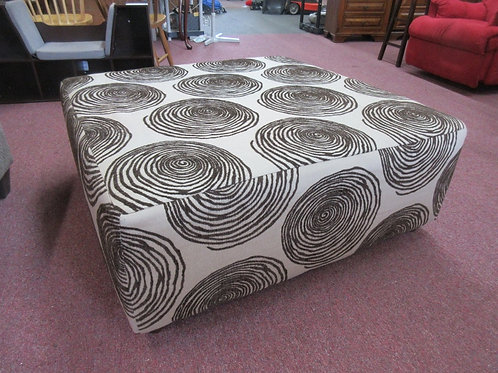 "Large tan with brown swirl design square upholstered ottoman 40x40x16""high"