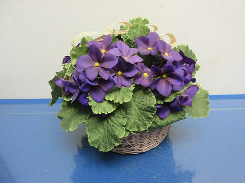 "Small African violet arrangement in pink basket 6""dia"