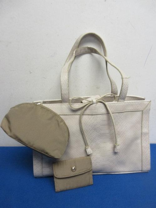 Large Liz Claiborne beige repitile skin purse w/change purse & credit card holde