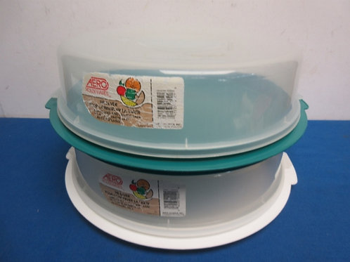 Pair  of pie saver containers, with strap on lids