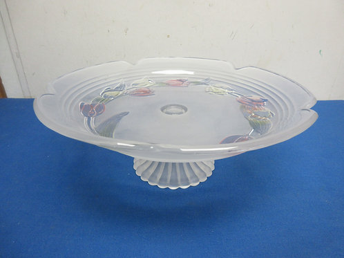 """Large pedestal cake dish with etched colored tulip design, 14"""" dia"""