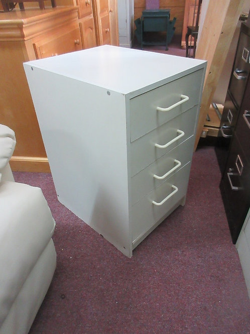 "Low 4 drawer white storage cabinet, 16x20x27""high"