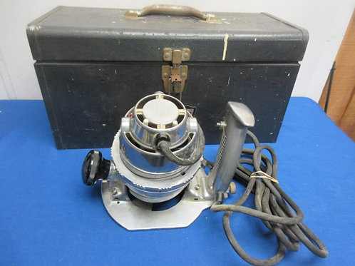 Vintage Craftsman heavy duty router with accessories in metal box