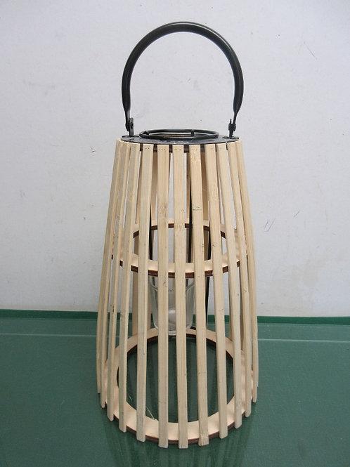 "Light wood lantern type votive candle holder,12"" high"