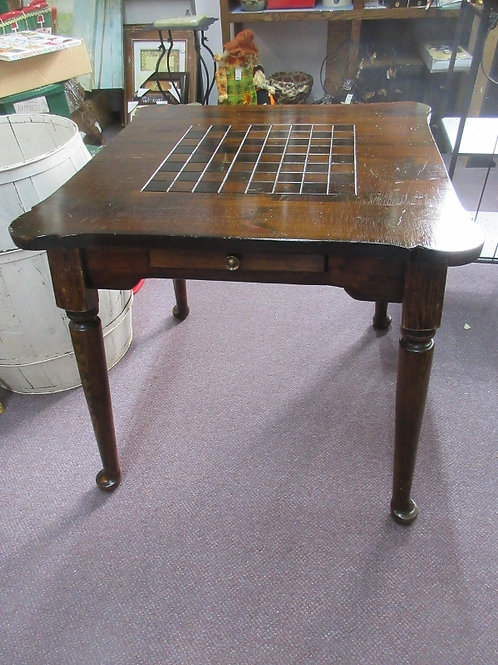 Dark stained wooden game table with checker board top & 1 drawer, 30x30x30