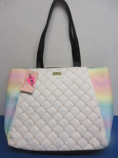 Luv Betsey white and rainbow tote