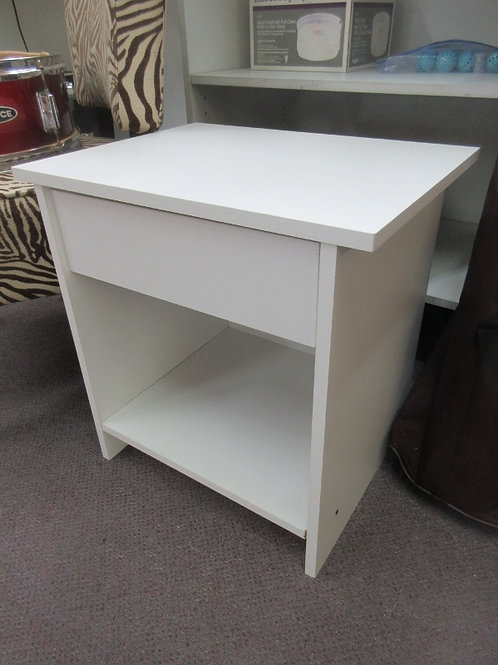 Small white single drawer end table with bottom shelf