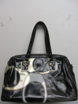 Coach black patton leather satchel style purse with gray & tan hilights