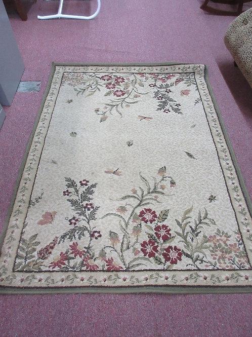 "Green tone area rug with flower garden design 47x63"""