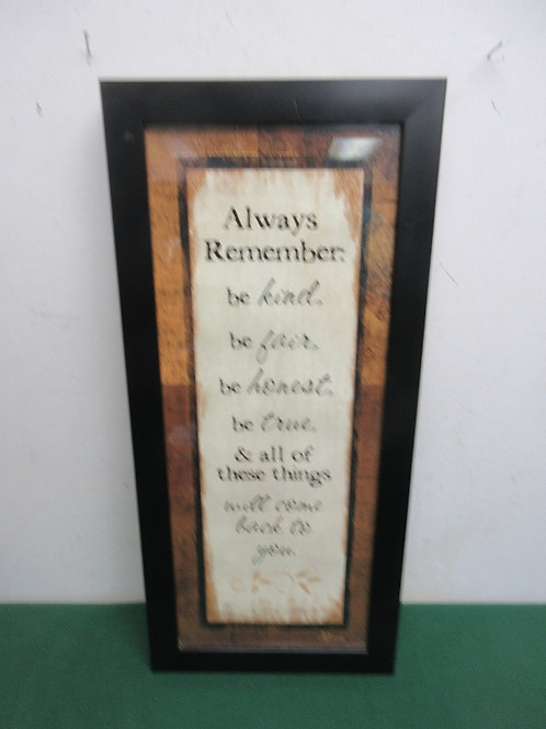 """Vertical wall hanging """"always remember be kind…, 10x22"""