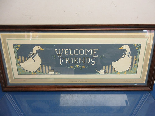 Welcome Friends country wall hanging with ducks on each side, in wood frame -13x