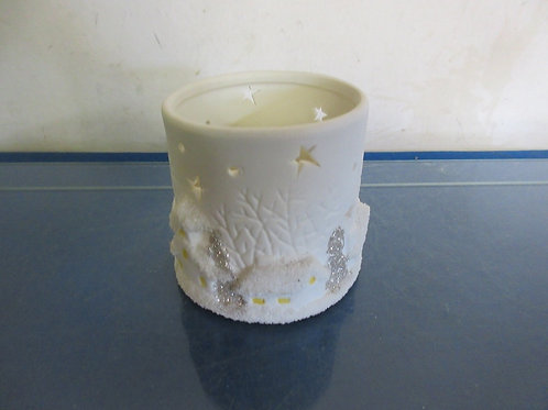 White battery candle with snowflake design