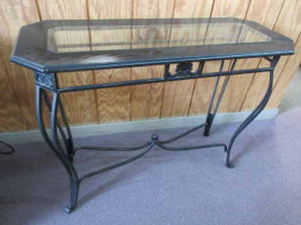 black metal frame and glass insert style sofa table