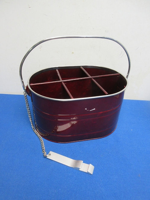 Small red metal carrier for 6 pack, attached opener