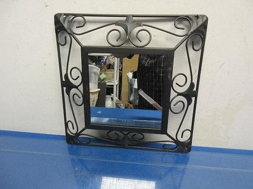 "Black fluer de lis design squaare metal framed hanging mirror -mirror 6x6"""