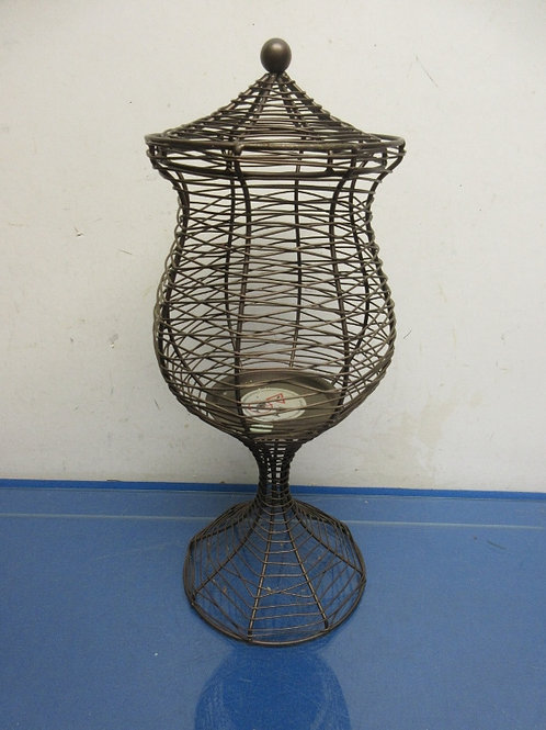 "Partylight metal wire pedestal container w/lid for candle 16"" high"