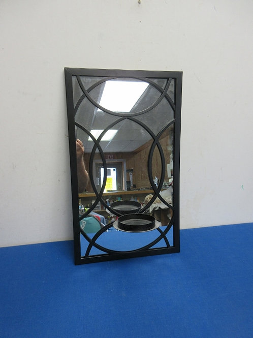 Black metal wall pillar candle holder with mirror backplate - 10x16