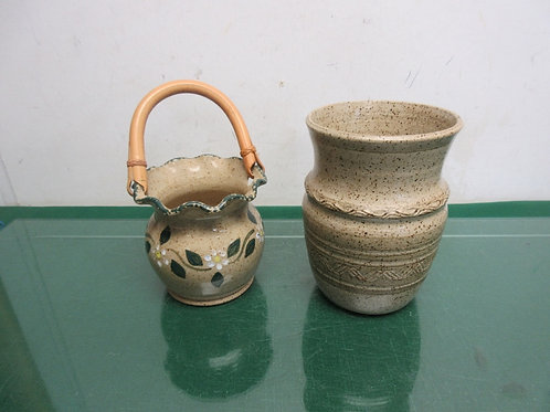 Pair of handmade potter style vases, one has handle