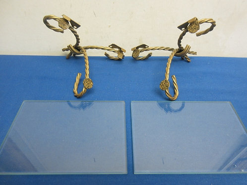 """Pair of gold twisted metal & glass shelves, 5x7"""""""