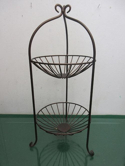 Brown metal footed 2 tier fruit basket