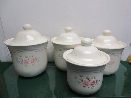 Pfaltzgraff tea rose 4 pc canister set - assorted sizes