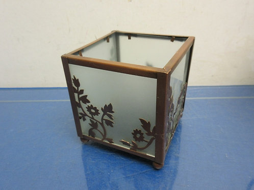 Partylite cube candle holder with frosted panels and copper tone metal frame - 4