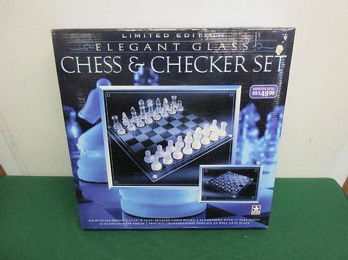 Elegant glass chess and checker set