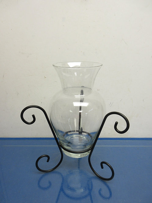 """Large glass vase with black metal holder, 13"""" tall"""