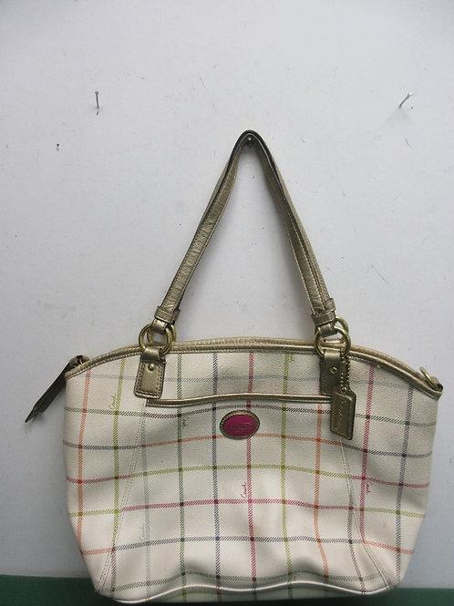 Large beige plaid Coach purse