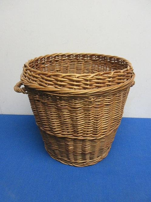 Brown wicker waste basket with two handles