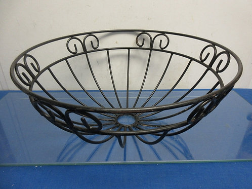 """Black metal scroll design round planter bowl, can be used w/ coco liner 16""""dia x"""