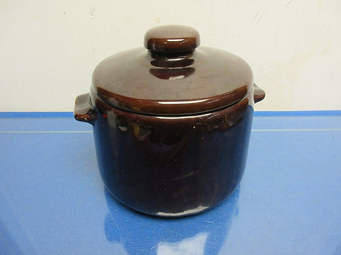 West Bend brown jar canister with handles and lid